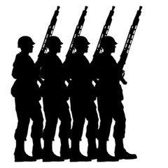 Soldiers silhouettes with helmets