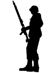 Soldier silhouette with helmet and machine gun
