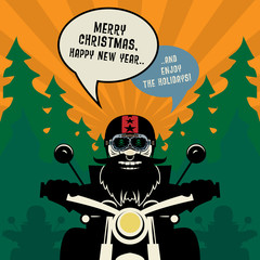 Biker New Year greeting card or poster, vector