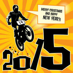 New year motocross race, vector