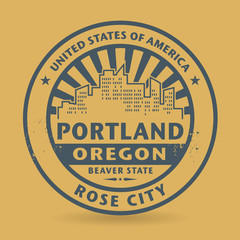 Grunge rubber stamp with name of Portland, Oregon