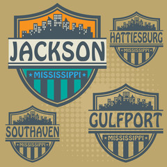 Label set with names of Mississippi cities, vector