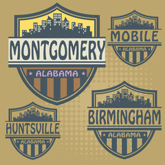 Label set with names of Alabama cities, vector