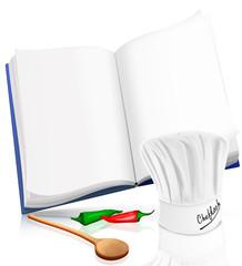 Kochbuch mit Kochmütze, Chili und Kochlöffel, freigestellt