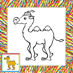 Cartoon camel coloring book with border