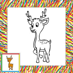 Cartoon deer coloring book with border