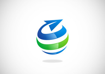 globe sphere swirl travel business vector logo