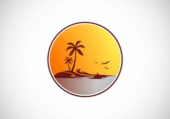 palm tree beach sunset abstract vector logo