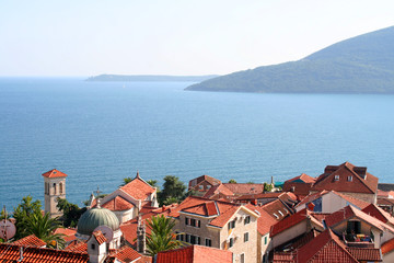 Beautiful landscape with mediterranean town in Montenegro