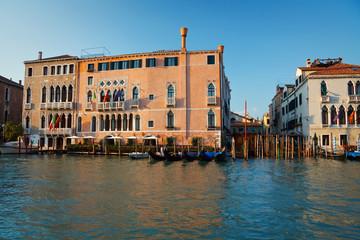 Gondolas in Grand canal in Venice, Italy.