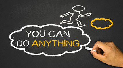 you can do anything concept:small person on idea cloud
