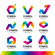 Zdjęcia na płótnie, fototapety, obrazy : collection of vector logos from abstract modules