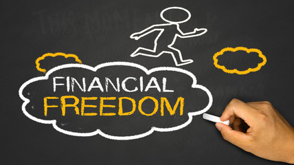 financial freedom concept:small person on idea cloud