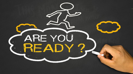 are you ready concept:small person on idea cloud