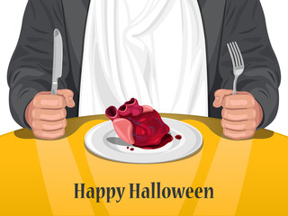 Happy Halloween - Man eating Heart vector