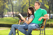 Girl relaxing in a park with her boyfriend