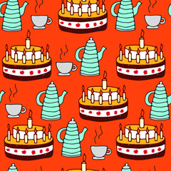 seamless pattern of tea and pie