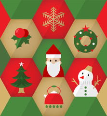 Flat Christmas icons in Hexagons