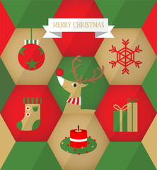 Flat Christmas icons in Hexagons B