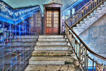Staircase in an old stylish plant. HDR-high dynamic range