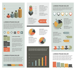 Big set of flat infographic elements. Layout template. Vector.
