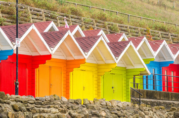 Colourful Beach Huts in Autumn