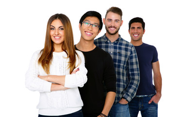 Happy students standing in a row over white background