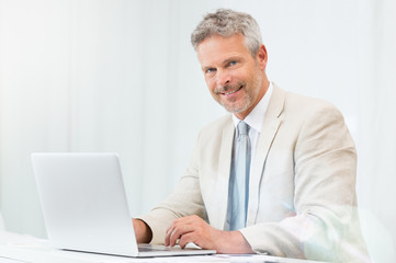 Happy Businessman At Laptop