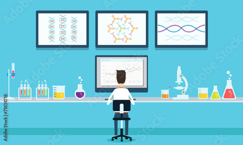 Fototapeta vector people scientists research in laboratory process