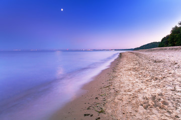 Full moon at Baltic sea beach, Poland