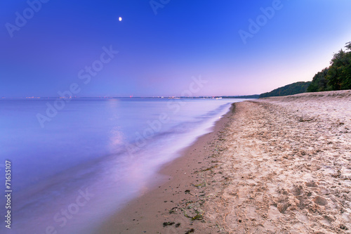 canvas print picture Full moon at Baltic sea beach, Poland
