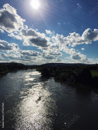 canvas print picture Der Fluss Weser in Minden