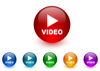video colorful vector icons set