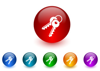 keys colorful vector icons set