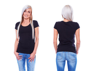 Black t shirt on a young woman template