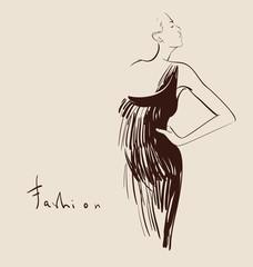 beautiful woman hand drawn