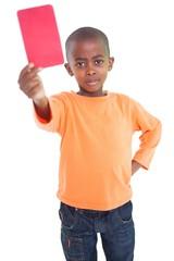 Cute boy showing red card