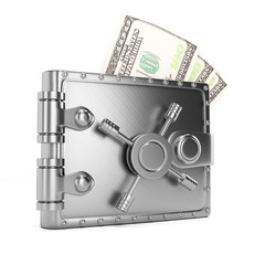 Metal wallet with banknotes