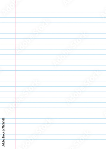 Leinwanddruck Bild Lined paper from a notebook