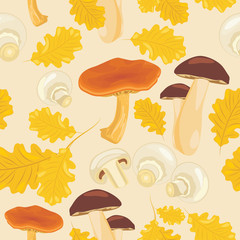 Mushrooms and oak leaves. Seamless background