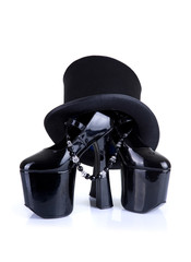 Black fetish shoes with top hat and necklace