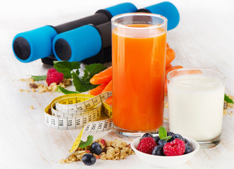 dumbbells with healthy  food