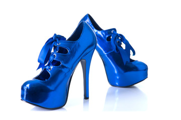 Elegant blue female shoes