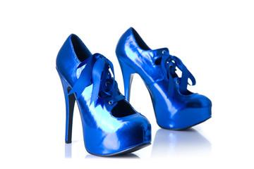 High heel metallic blue female shoes