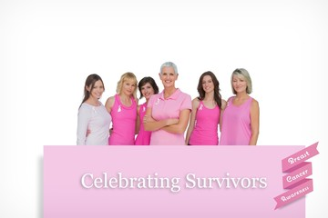 Enthusiastic pretty women posing for breast cancer