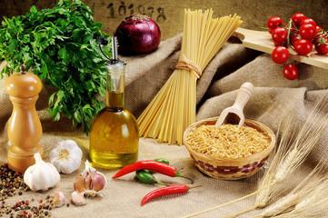 Traditional ingredients for seasoning pasta