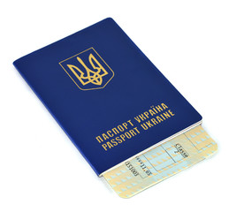 Ukraine Passport and ticket