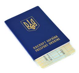 Ukraine Passport and ticket