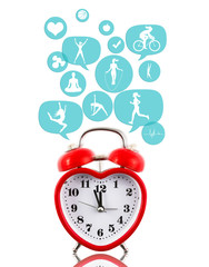 Heart alarm clock with fitness icons in talk bubbles isolated