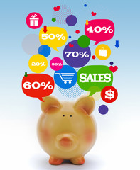 Piggy bank with sale icons in talk bubbles
